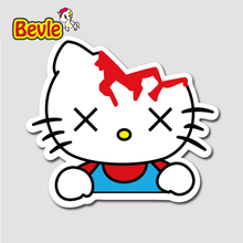 Bevle 1332 Broken Head Hello Kitty 3M Sticker Waterproof Laptop Luggage Fridge Skateboard Car Graffiti Cartoon Tide Sticker(China)