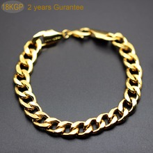 men male bracelet gold color 2 years guarantee husband father gift 10 mm couple men figaro chain bracelet jewelry 1661(China)