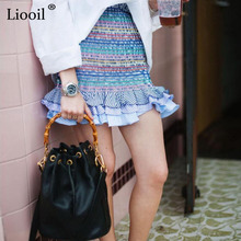 Buy Liooil Boho Striped Beach Mini Skirt Women 2018 Summer Fashion Casual Skirts Female Ruffle High Waist Sexy Short Skirts Womens for $7.04 in AliExpress store