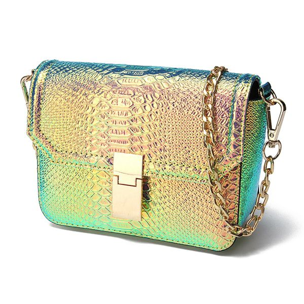 5x Fashion crossbody bags for women Holographic Laser Print alligator Leather bags chain women Shoulder Bags<br>