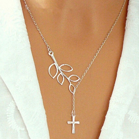 2016 new Fashion silver leaf cross pendant Necklace for women European and American silver simple bar necklace lowest price !!!(China (Mainland))