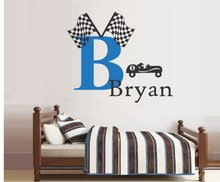 Custom made Racing Car Game Custom Boys Name With Two Flags Cool Wall Decal Boys Nursery Bedroom Decor Wall Sticker Vinyl Mural(China)