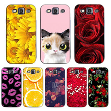 Beauty Rose Flower Case for Samsung Galaxy S3 I9300 / S3 Duos i9300i /S3 Neo i9301 Protector Cover Painting Girl Cat case cover(China)