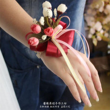 Satin ribbon roses Silk flower wedding bouquet roses dahlias Artificial flowers fall wedding flower bridal bouquets decoration(China)