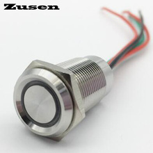 Zusen 16mm touch switch on/off type push button switch with led IP67