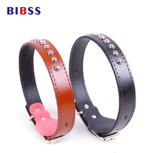 PU Leather Dog Collar With Round nails,Pet Collar For Small And Medium Dog Cow Pants Golden Coleira cachorro(China)