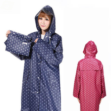 EVA Waterproof Raincoat Women Dot Fashion Long Ladies Raincoat Over Knee With Hood And Packing Pouch Pocket Poncho Coat Rainwear(China)