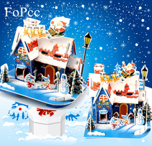 3D DIY Puzzle Christmas Supplies Scene Cloth Gift Christmas Decorations For Home Christmas Snow House Christmas Gift