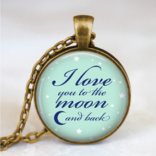 I love you to the moon and back necklace, valentine gift jewelry, best friends pendant, moon jewelry, family gift idea