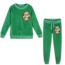 Girls Christmas Outfits Boys Clothing Set Brand Baby Girls Winter Clothes Kids Tracksuit Velour Fleece Fox Children Sets 2Colors(China)