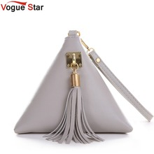 Vogue Star Fashion Mini Tassel Clutch Leather Bag Designer Purse Famous Brand Women Fringe Handbag Evening Bag Bolsa LS453(China)