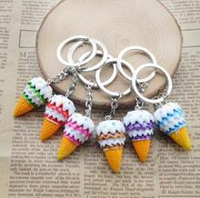 New Fashion 1 Piece Random Color Style keyring Ice cream Charm Mobile Phone Strap Keychain bag Pendant Cute key ring