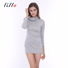 Gray long-sleeved high-necked dress Cotton base party sexy dress Fashion sexy business wear Waist Autumn and winter models(China)
