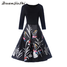 Dreamjieshi 2017 Autumn Retro 1950s graceful female dress Swan Print Patchwork Black Half Sleeve big swing Skater dress vestidos