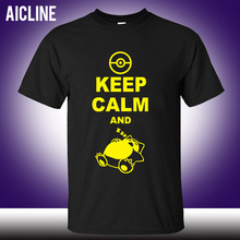 new Fashion Classic Style Keep Calm And Carry On Snorlax Sleep On Pokemon T Shirt Casual Music Rock N Roll Band T Shirt(China)