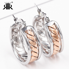 RIR Brand Unique Fashion high quality Steel Rose Gold-Color Hoop Earrings for Women Jewelry party holiday gift Punk Rock style(China)