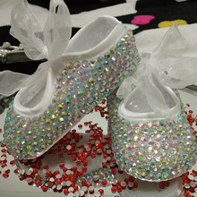Custom Sparkle Bling crystals Rhinestones ribbon Princess satin bella Ballerina shoes Baby Girl's Child birthday shoes diamond