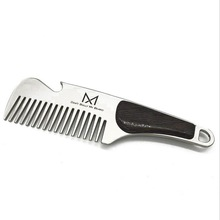 High Quality Professional Men's mustache comb Anti Static Stainless Steel Folding Comb Can Be Use As A Bottle Opener