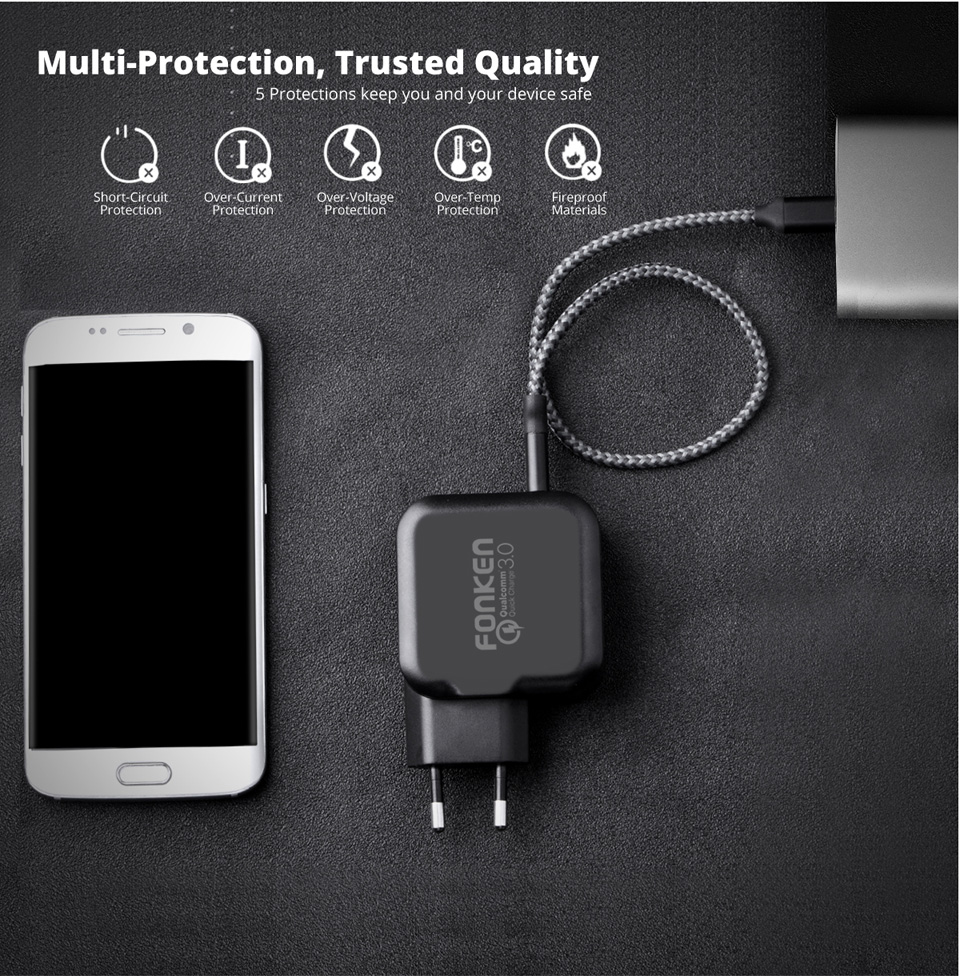 FONKEN Dual USB Charger Quick Charge 3.0 Fast Phone Charger QC3.0 QC2.0 27W 2 Port Quick Wall Adapter 5V 2A for Mobile Phone