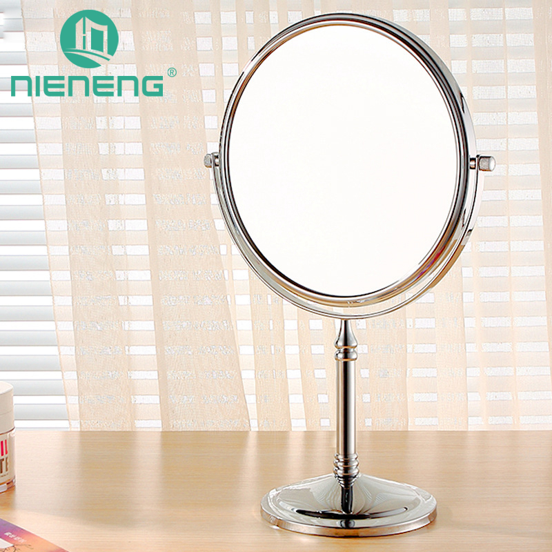 Nieneng Bathroom 6 Inch Cosmetic Mirror with Light 3X Stainless Steel Makeup Mirror with Light Table Stand Mirror ICD60520<br>
