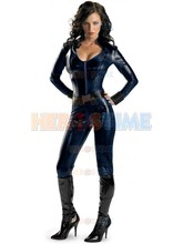 Iron Man 2 Black Widow Superhero Costume Shiny Metallic female halloween cosplay costumes hot sale zentai suit free shipping(China)