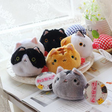 6Pcs/set Anime Kutusita Nyanko Cat Sushi Cat plush doll toys Kawaii mini Boots cat Plush pencil Bags key chains pendent