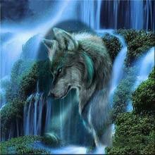 5D поделки алмазов картина водопад волк вышивки крестом Наборы полный дрель смола алмаз Вышивка рукоделие Алмазная мозаика ssyp-082(China)