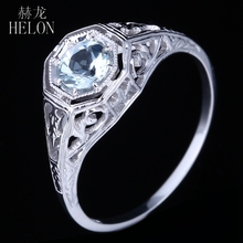 HELON Noble Round 4.5mm Round Cut Aquamarine Solid 10K White Gold Engagement Wedding Fine Vintage Ring Women's Jewelry Ring