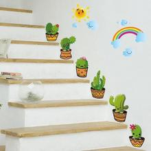 Potted Cactus Decorative Glass Stair Windows Kitchen Removable Wall Stickers For Kids Rooms Home Decoration Accessories 3