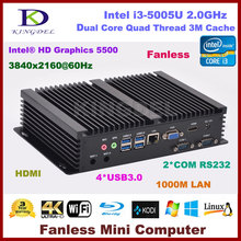 New arrival Fanless Mini PC Windows 10 i3 5005U processor Client pc 3.0 SSD 2*RS232 COM Port industrial PC Rugged HTPC(Hong Kong)