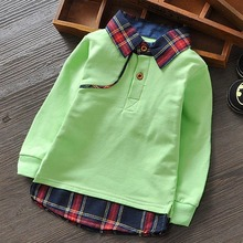 England Style Kids Boys Polo Shirts Long Sleeve Children Tops Tees Plaid Turn Down Collar Spring Toddler Shirts In Boys & Girls(China)