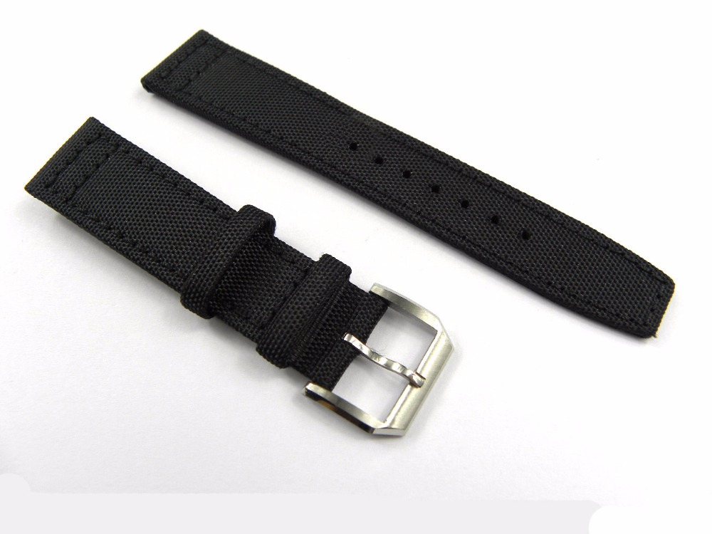 22mm (18mm buckle) New Man Woman Black Nylon Band 316L Stainless Steel Pin Buckle Clasp Wrist Watch Band Belt Luxury<br><br>Aliexpress