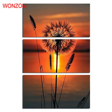WONZOM Dust Lake Canvas Art Dandelion Painting Modern 3Pc Wall Canvas Pictures For Home Decor Cuadros Decoracion Infantiles 2017(China)