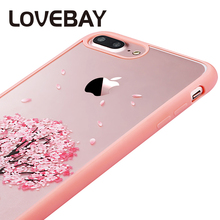 Lovebay Cherry Flower Case For iPhone 7 Luxury Transparent Cartoon Peach Tree Back Cover Phone Case For iPhon6 6s Plus 5 5s SE