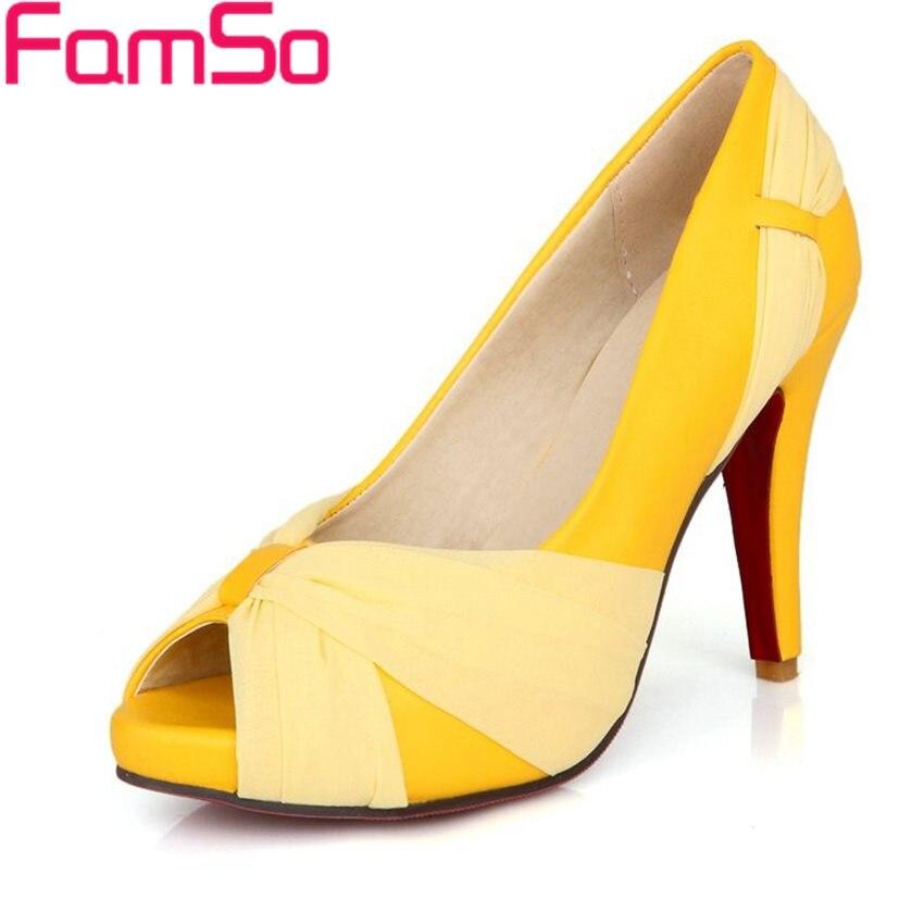 Plus Size35-43 2017 New Women pumps Shoes High Heels Peep toes Wedding pumps famous Spring Single heels Platforms Sandals PS560<br><br>Aliexpress