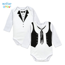 2PCS Gentleman Baby Boy Clothes White Newborn Wedding Clothes Baby Rompers Long Sleeve Overalls Next Baby Body Jumpsuit