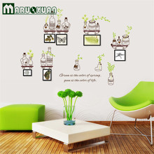 Bottle Factory Direct Green Leaves Frame With Removable Wall Stickers PVC Transparent Film