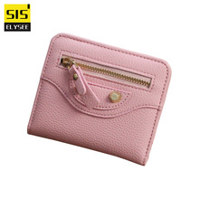 National Mini Women Wallet Hasp and Zipper Purse Coin Slot Credit ID Bus Card Holder With Rivets Design Money Clutch Bag Student