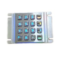 USB 16 keys backlit metallic keypad Led backlight panel mounted keyboard+ illuminated 4x4 key button for kiosk,vending machine