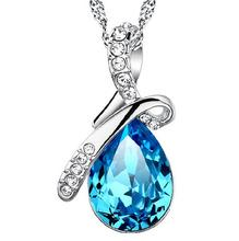 OMH wholesale blue water DROP angel tear glass crystal 925 sterling silver necklace pendant YS203