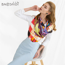 BAOSHIDI Luxury brand silk scarf, 100% pure Silk square large Scarf, printed women scarfs, floral scarves made in China, by hand