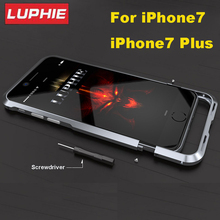 Luphie Ultra Thin Aviation Aluminum Bumper For iPhone 7 CNC Prismatic Shape Frame Metal Button Cover for iPhone7 plus Bumper(China)