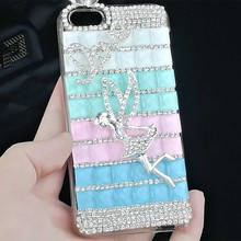 3d Cute Angel Cover Crystal Bling Cell Phone Case for Iphone 6s Plus 7 7 Plus 6 4 4s 5 5s Diamond Rhinestone Mobile Phone Cases