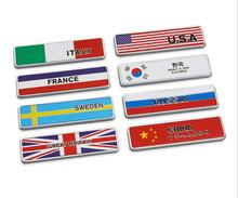 1pc Metal China Germany Russia France Korea USA Japan Sweden Italy Great Britain UK Flags Car Fender Stickers Decoration