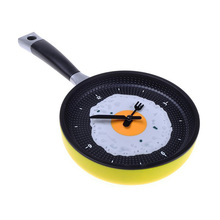 Frying Pan Clock with Fried Egg - Novelty Hanging Kitchen Cafe Wall Clock Kitchen - Yellow(China)