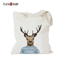 TANGIMP Eco Cotton Canvas Hangbags Shoulder Bags Elk Deer Painting Shopping Tote Reusable Foldable Women Carrying Bag Sac Borsa(China)