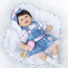 "Adorable fake baby reborn dolls 16"" 42cm soft cloth body silicone reborn girl dolls children gift bebe doll reborn bonecas(China)"
