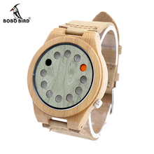 BOBO BIRD A03 Mens Bamboo Watches 12 Holes Display Green Wooden Dial Quartz Wristwatch with Leather Strap in Gift Box