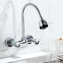 Xueqin 360 Pipe Swivel Wall Mount Chrome Pull Down Kitchen Sink Spray Faucet Mixer Tap Polished Chrome Modern Hot Sale