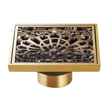 "Buy Free Antique Brass Square Bathroom Shower Floor Drain Washer Grate Waste Drain 4"" Artistic Shower Drain for $17.25 in AliExpress store"